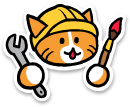 The neocities logo: a cat wearing a hard hat        with a wrench in one hand and a paintbrush in the other.